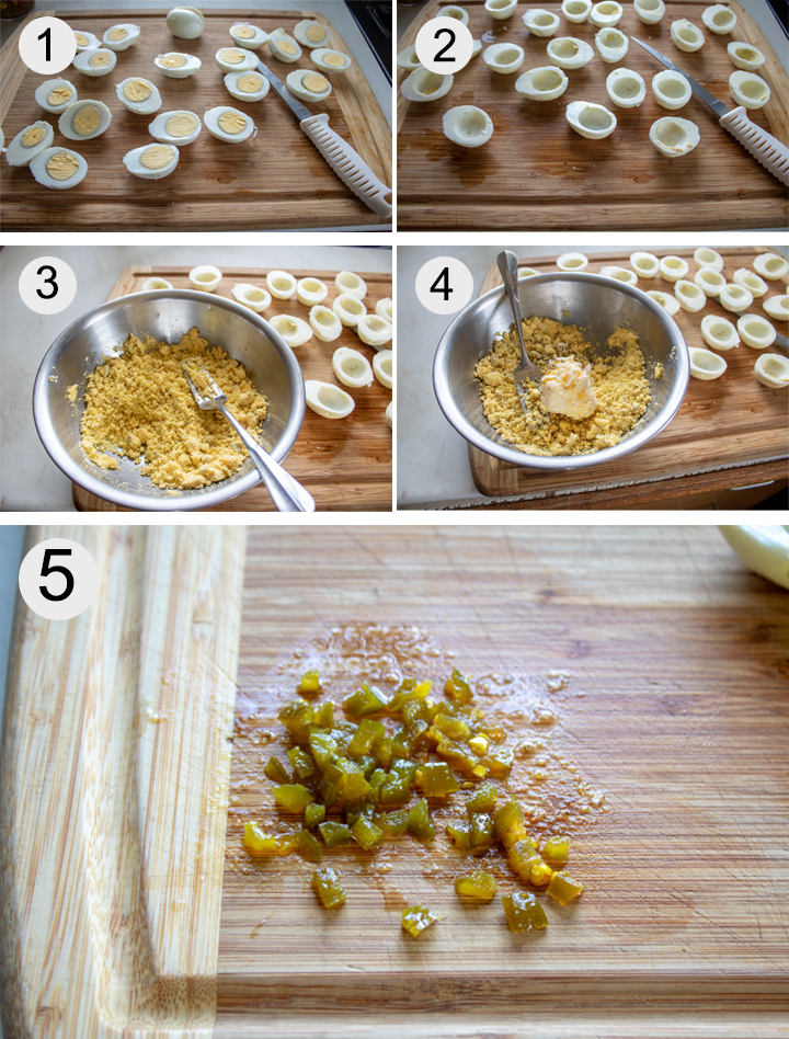 Peeled hard boiled eggs sliced in half. Yolks removed from eggs. Mashed yolks in bowl. Mayonnaise added to yolks. Candied jalapenos minced on board. Jalapenos added to yolk mixture.