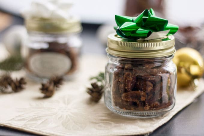 pecans in jar with green bow
