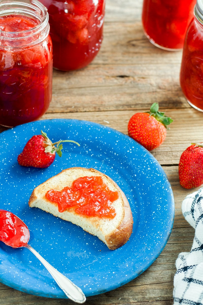 Piece of toast spread with Strawberry Jam