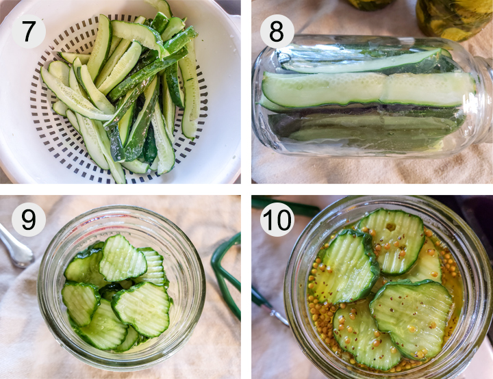 salt rinsed off of cucumbers. cucumber spears loaded into jar, lying on it's side. cucumber slices loaded into jars. pickling liquid added to jar.