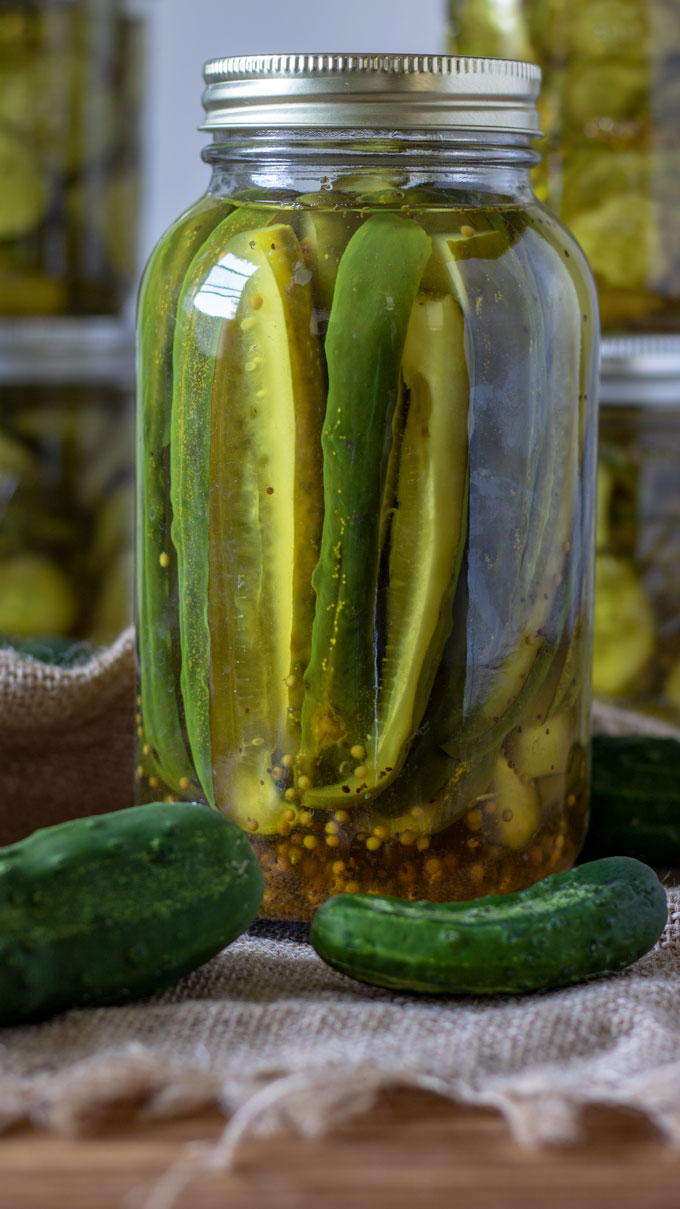 pickle wedges in quart jar.