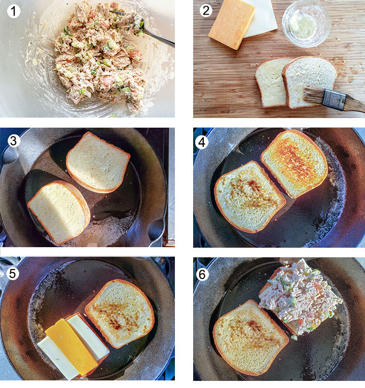 Tuna salad mixed up. Brushing butter on bread. Toasting 1st side. Toasted side up. Added cheese to bread. Tuna added on top of cheese.