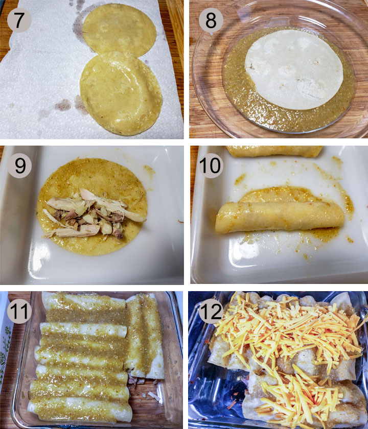 tortilla draining on paper towel. Tortilla being dipped in tomatillo sauce. turkey mixture placed on tortilla. Tortilla rolled up. Whole pan of enchiladas with sauce. Cheese sprinkle on endhiladas.