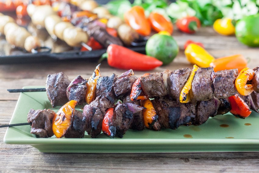 stacked venison kabobs