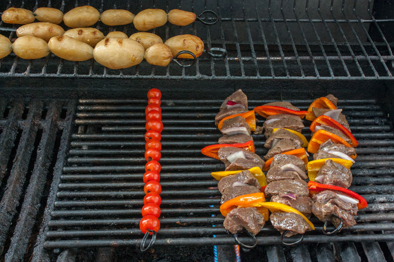 close up of venison steak kabobs with red onion and colorful peppers