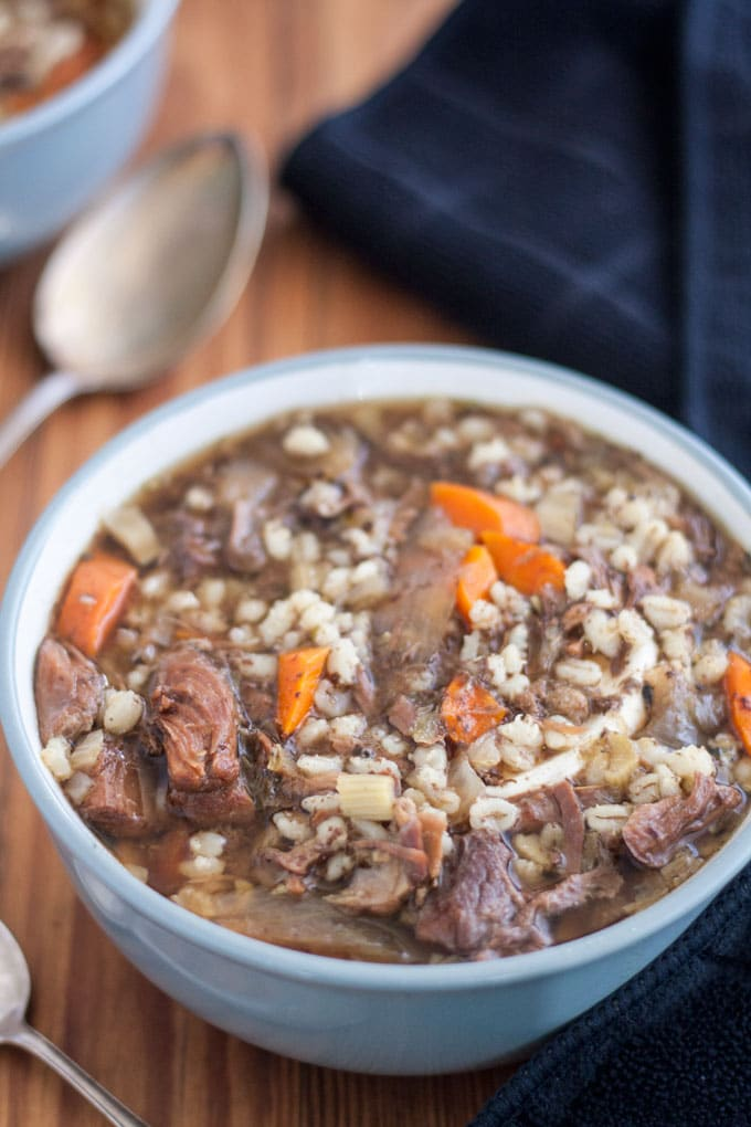 close up venison soup with vegetables and barley