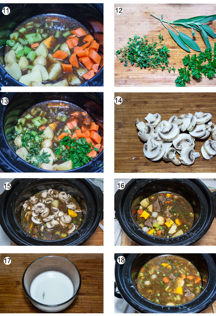 Vegetables added to crockpot. Fresh hebs on cutting board. Chopped herbs added to crockpot. mushrooms sliced.