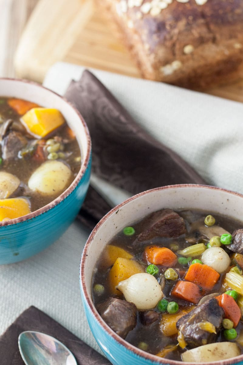 carrots, potatoes, peas and venison in stew