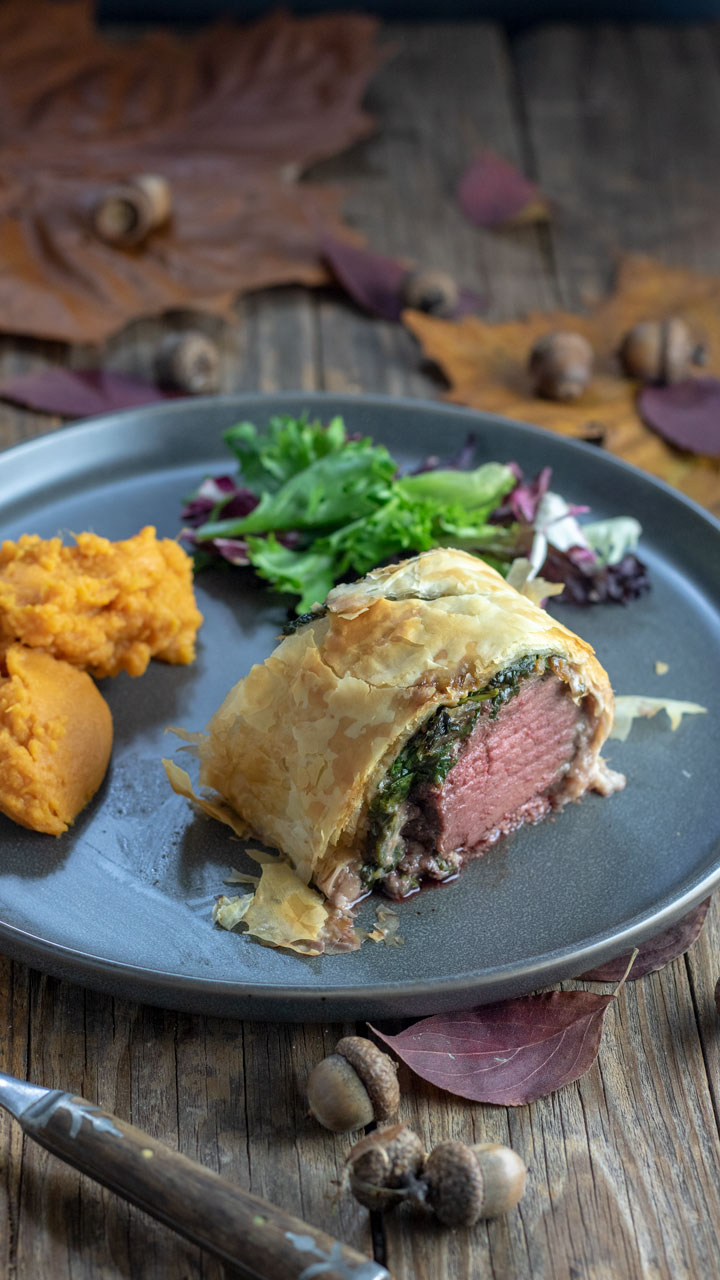 Slice of Venison Wellington.