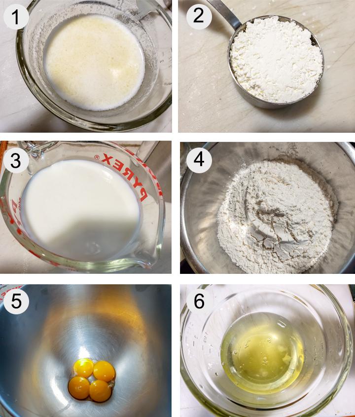 Melted butter. cornstarch. Buttermilk. Dry ingredients. Egg yolks. Egg whites.