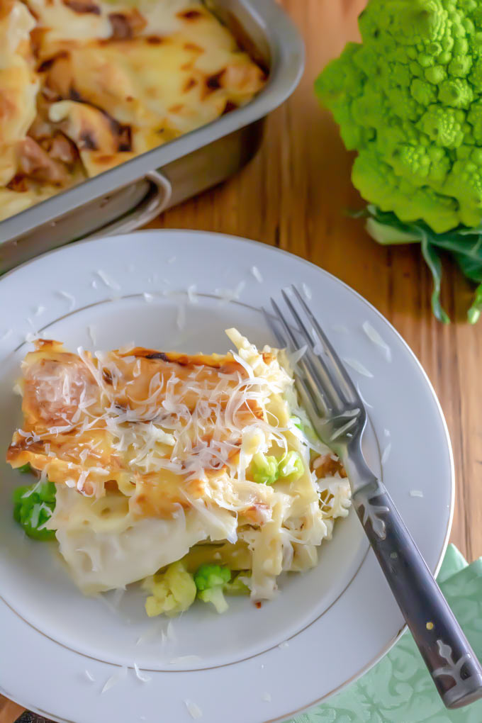 Romanesco with white lasagna