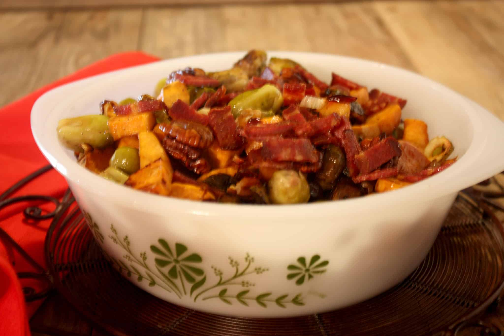 Roasted Brussels Sprouts and Sweet Potatoes
