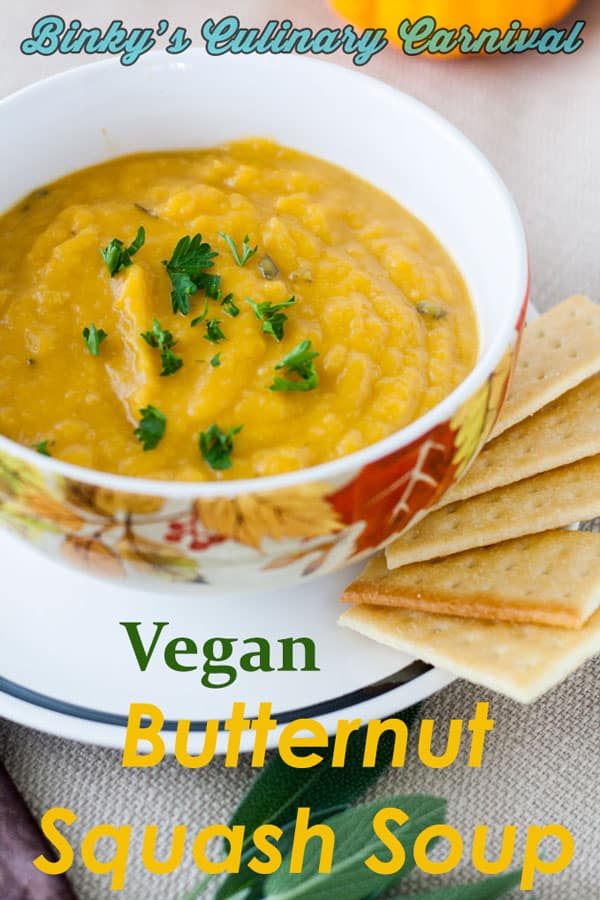 Butternut squash soup Pinterest image with text overlay.