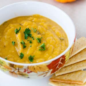 butternut squash soup is vegan and gluten free!