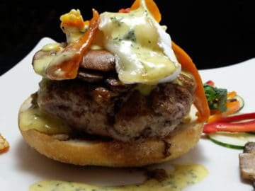 Lamb Feta Burger with Lemon, Garlic and Mint Aioli