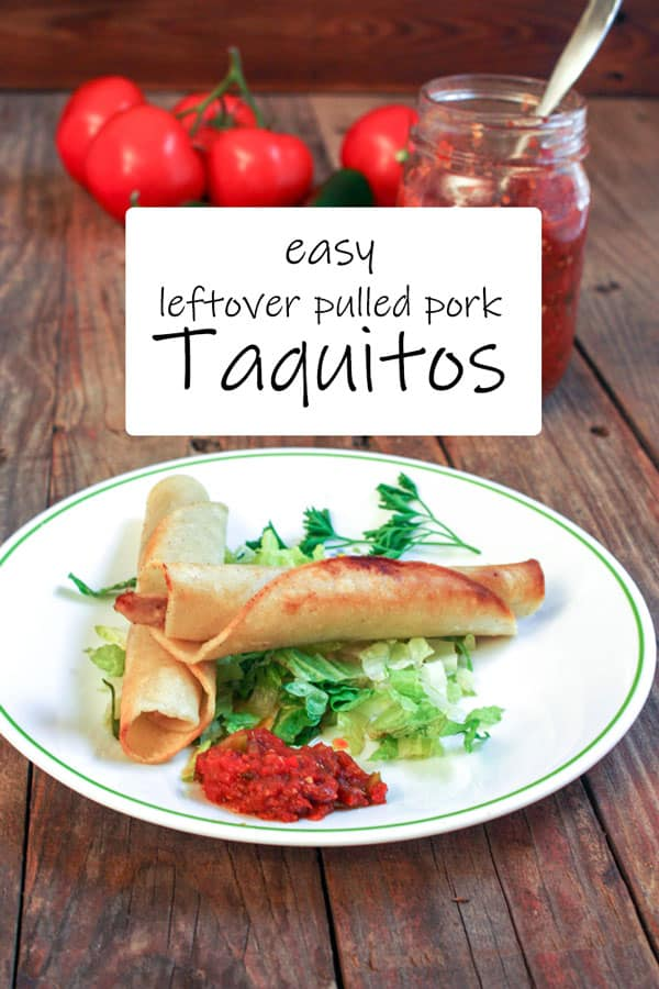Venison taquitos Pinterest image with text overlay.