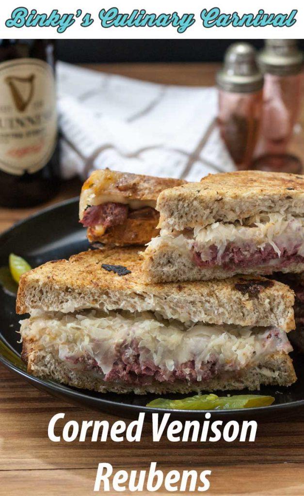 corned venison reuben sandwich pinterest image