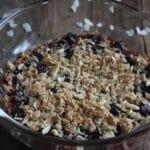 cherry coconut crisp in glass casserole