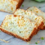 zucchini cheese bread on marble board