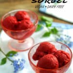 Raspberry banana sherbet Pinterest images with text overlay
