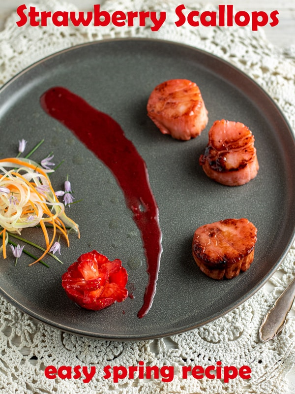 Strawberry infused scallops Pinterest image with text overlay.