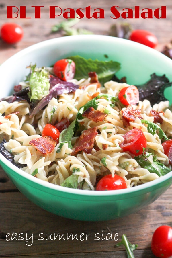 BLT pasta salad Pinterest image with text overlay