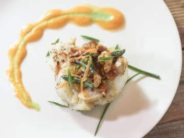 Bacon Horseradish Lobster Stuffed Grouper -Chunk of grouper topped with the bacon horseradish and mini asparagus tips, with sweet potato and asparagus purees piped onto plate