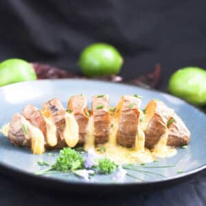 Hasselback Sweet Potatoes with Mexican Flavors