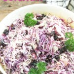 apple coleslaw Pinterest image with text overlay