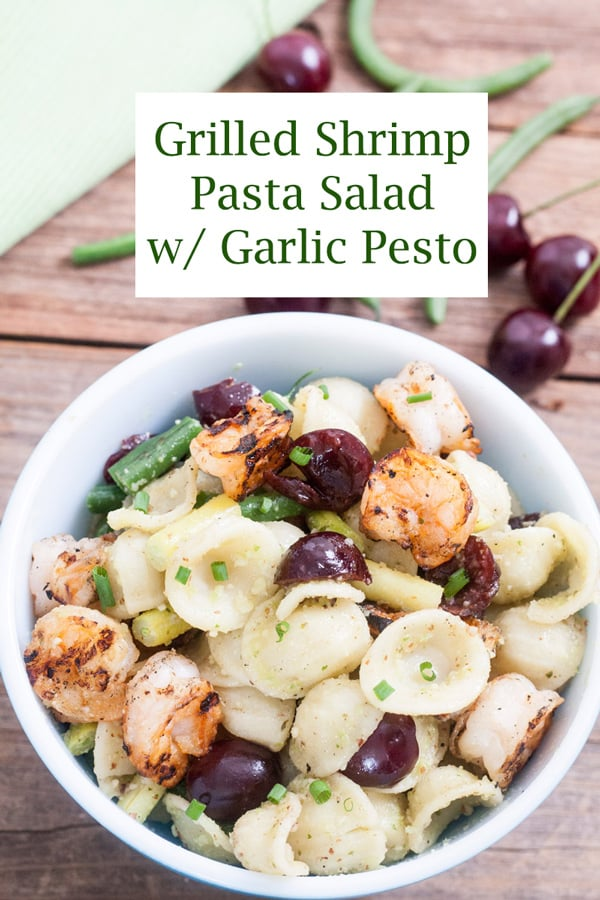 Grilled shrimp & pasta salad Pinterest image with text overlay.