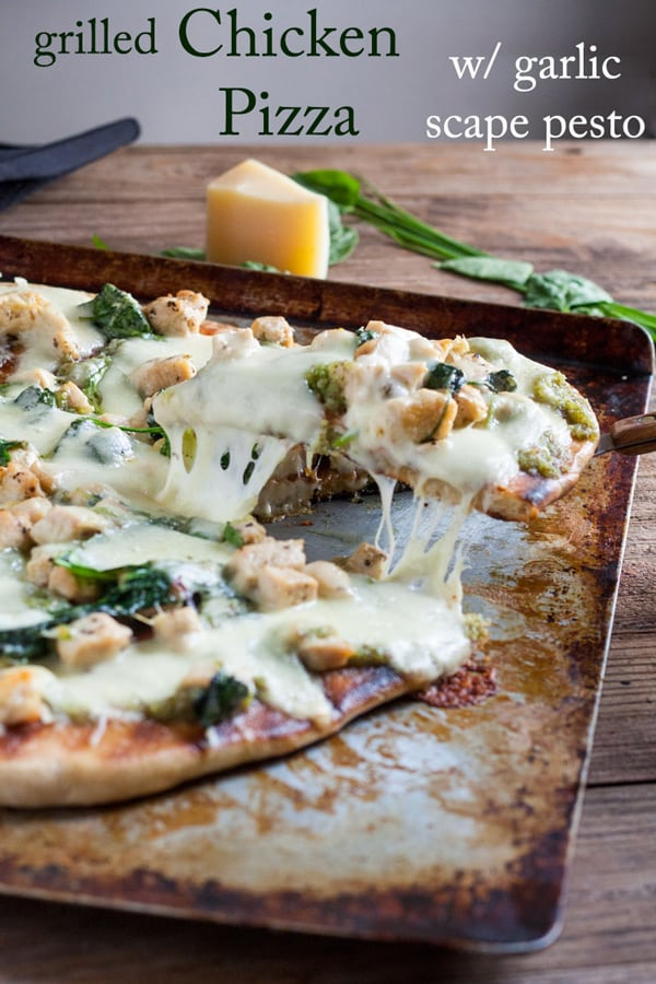 Grilled white chicken pizza with garlic scape pesto Pinterest image with text overlay.