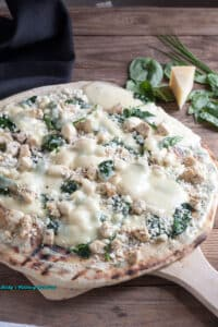 Thin Crust Chicken, Spinach Pizza