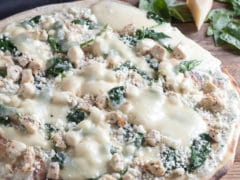 Thin Crust Chicken Pizza with Feta & Spinach