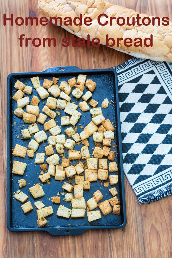Homemade Croutons from stale bread Pinterest image with text overlay.