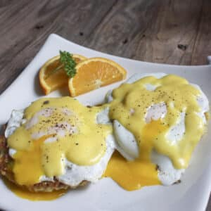 Eggs Benedict! Lox with Curried Scallion and Rice Cakes