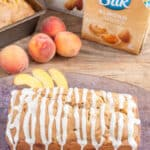 Peach Bread with Pecans and Caramel Glaze
