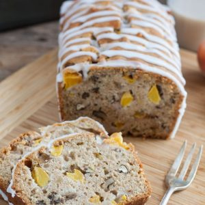 Peach Pecan Quick Bread with Caramel Glaze - Chunks of nuts and peaches in a golden quick bread glazed with caramel