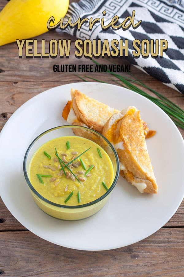 Curried Yellow Squash Soup Pinterest image with text overlay.