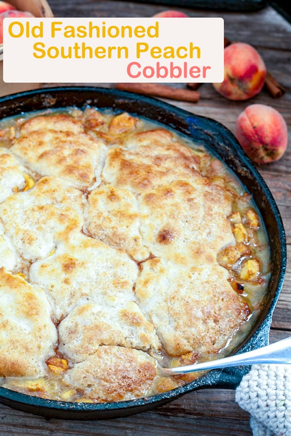 Southern peach cobbler Pinterest image with text overlay.