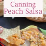 Canning Peach Salsa Pinterest Pin with text overlay