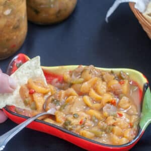 peach salsa in pepper bowl