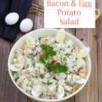 Bacon & egg potato salad Pinterest image with text overlay