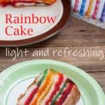 Rainbow cake Pinterest image with text overlay.