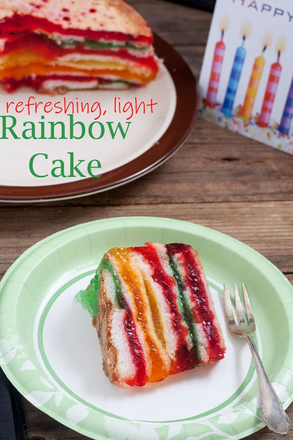Rainbow cake Pinterest image with text overlay.