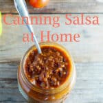 how to can salsa Pinterest image with text overlay