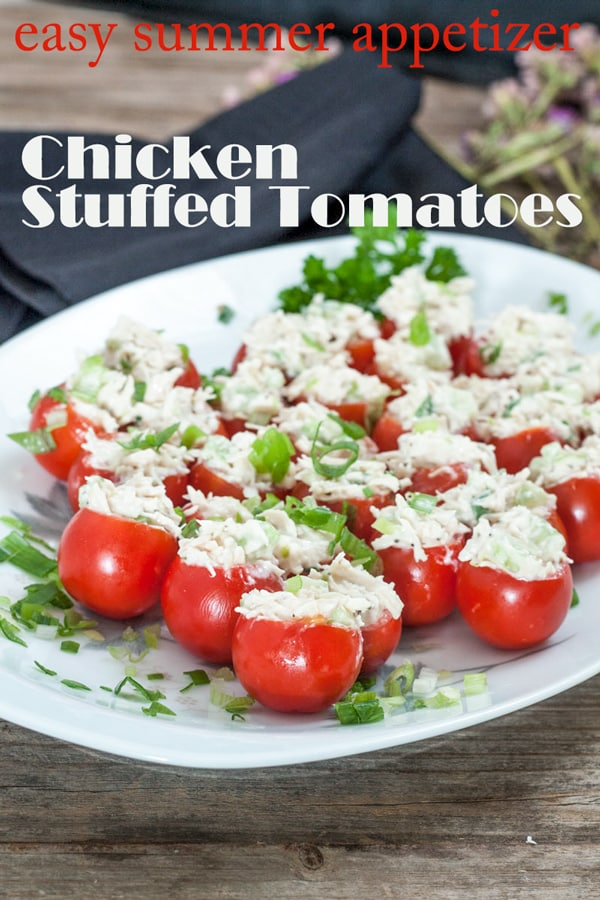 Chicken stuffed tomatoes Pinterest image with text overlay.