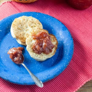 Strawberry jam on a toasted English muffin