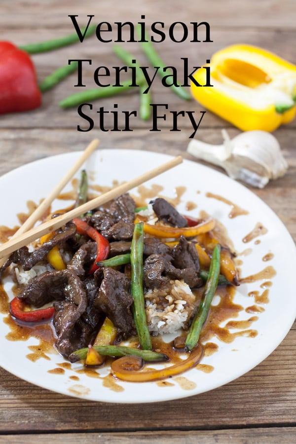 Venison teriyaki stir fry Pinterest image with text overlay.