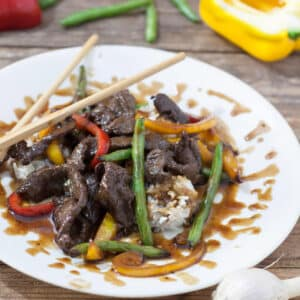 Venison Teriyaki Stir Fry on white plate