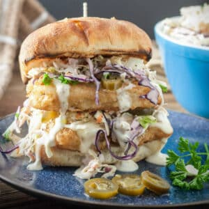 Fish sandwich with jalapenos and spicy aioli